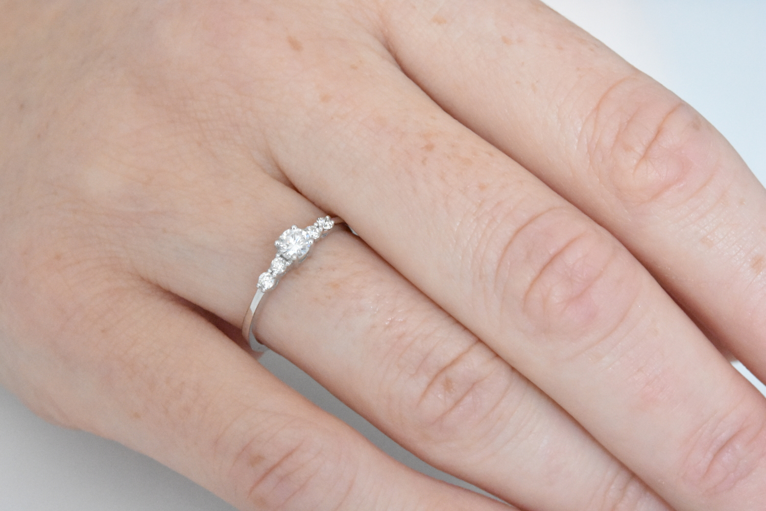 Delicate Diamond Engagement Ring - nature shiny