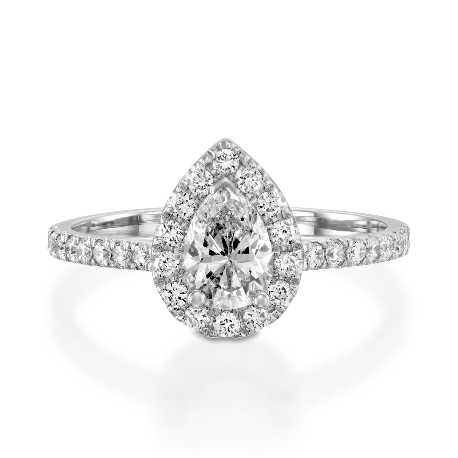in halo pear white diamond shape rockher shank engagement pave elevated rings gold with ring